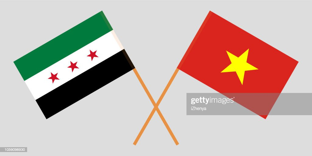 Socialist Republic of Vietnam and Syria opposition. The Vietnamese and Syrian flags. Official colors. Correct proportion. Vector