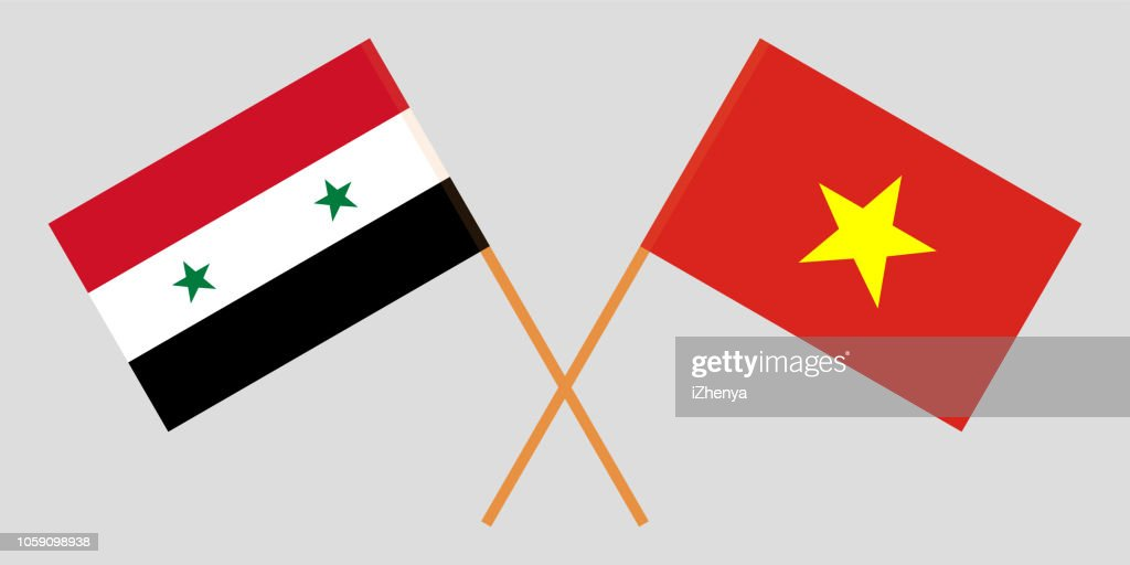 Socialist Republic of Vietnam and Syria. The Vietnamese and Syrian flags. Official colors. Correct proportion. Vector