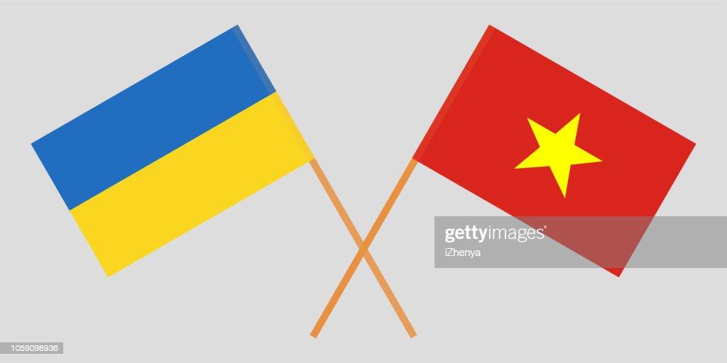 Socialist Republic of Vietnam and Ukraine. The Vietnamese and Ukrainian flags. Official colors. Correct proportion. Vector