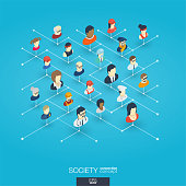 Society integrated 3d web icons. Digital network isometric concept