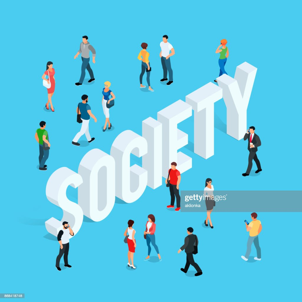 Society. Isometric social concept with people in different poses.