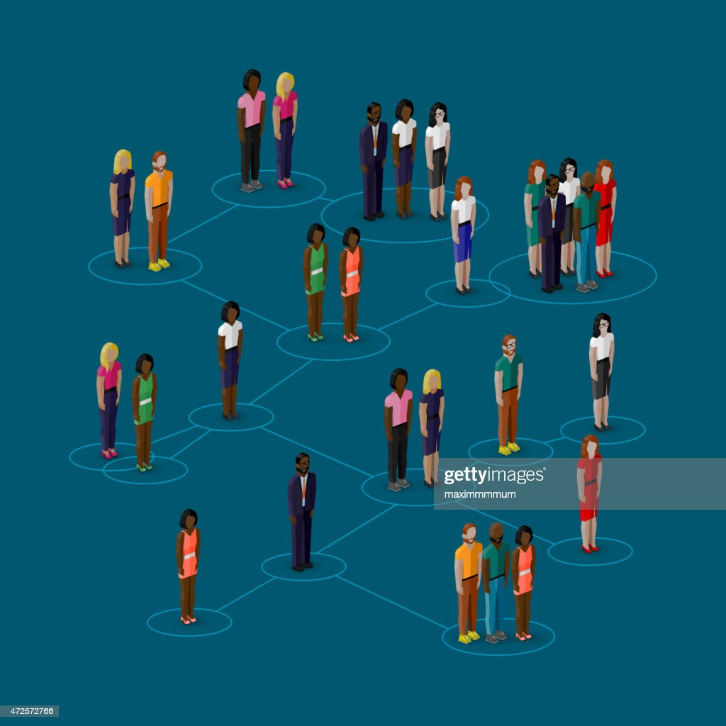 society members with  men and women. population. social network concept