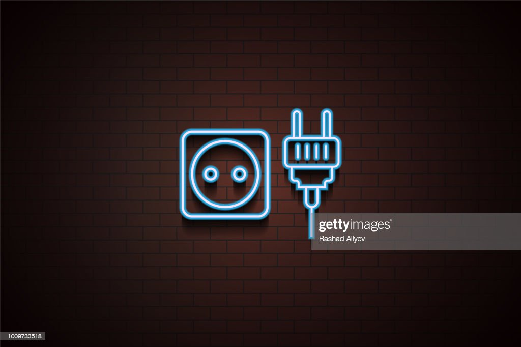 socket and plug icon in neon style. One of Appliances collection icon can be used for UI/UX