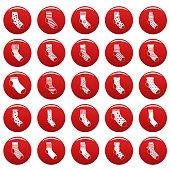 Socks textile icons set vetor red