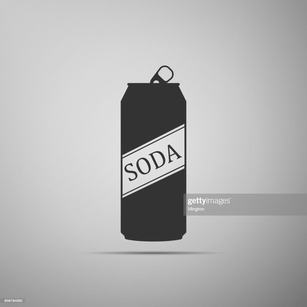 Soda can icon isolated on grey background. Flat design. Vector Illustration