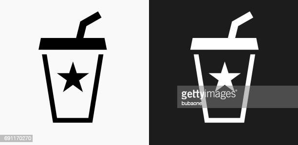 soda drink icon on black and white vector backgrounds - juice drink stock illustrations, clip art, cartoons, & icons