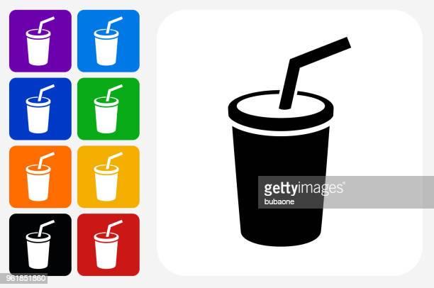 Soda Icon Square Button Set