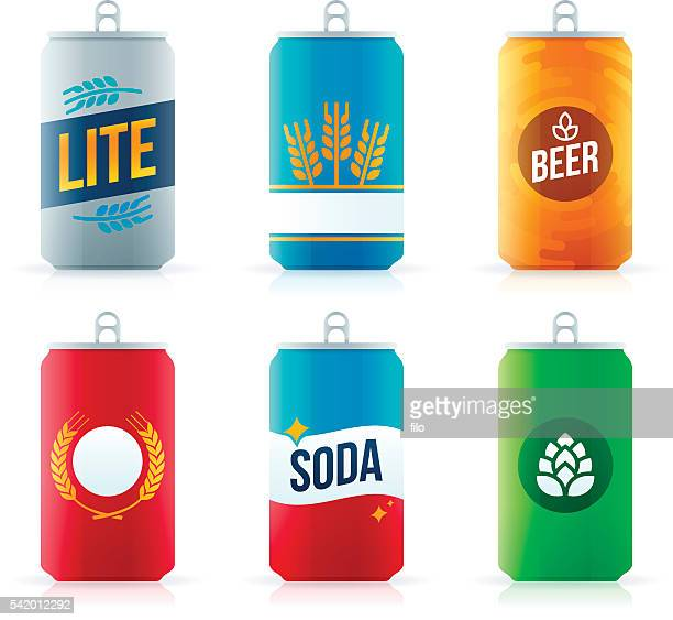 soda or beer aluminum cans - can stock illustrations