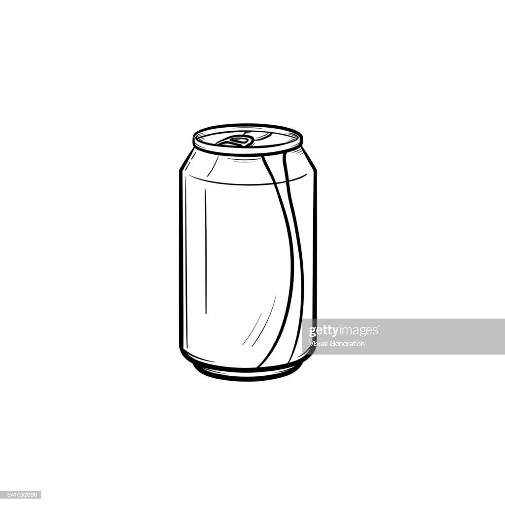 Soda pop can hand drawn sketch icon