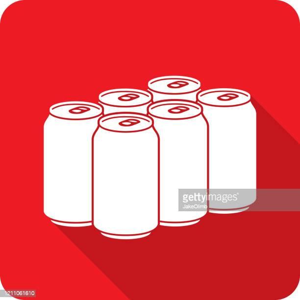ソーダシックスパックアイコンシルエット - 6缶パック点のイラスト素材/クリップアート素材/マンガ素材/アイコン素材