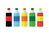 Soda, water and juice or tea bottles icons. Nature drinks