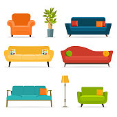 Sofa and chair sets and home accessories.Vector flat illustration