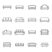 Sofa chair room couch icons set, outline style