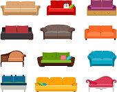 Sofa colored vector set. Comfortable couch collection isolated on white background for interior design
