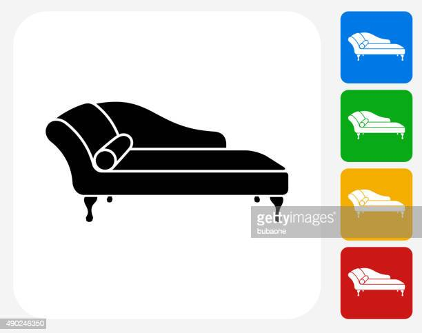 sofa daybed icon flat graphic design - chaise stock illustrations, clip art, cartoons, & icons