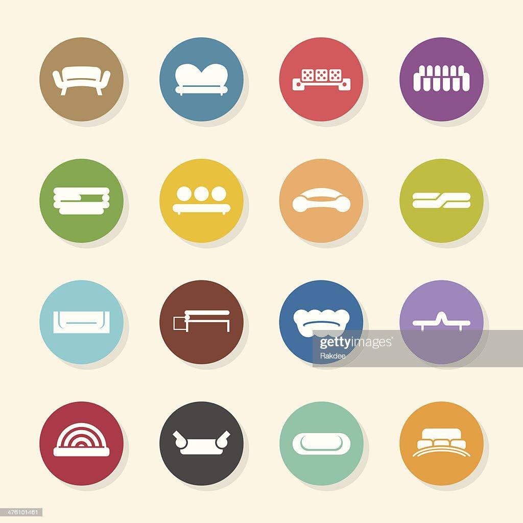 Sofa Design Icons - Color Circle Series