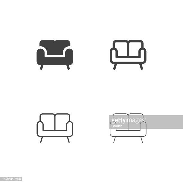 sofa icons - multi series - chaise stock illustrations, clip art, cartoons, & icons