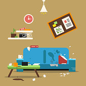 Sofa in dirty organized apartment. Different trashes in room. Flat style vector illustration