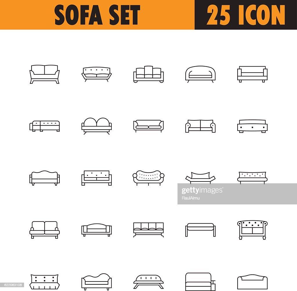 Sofa line icon set.