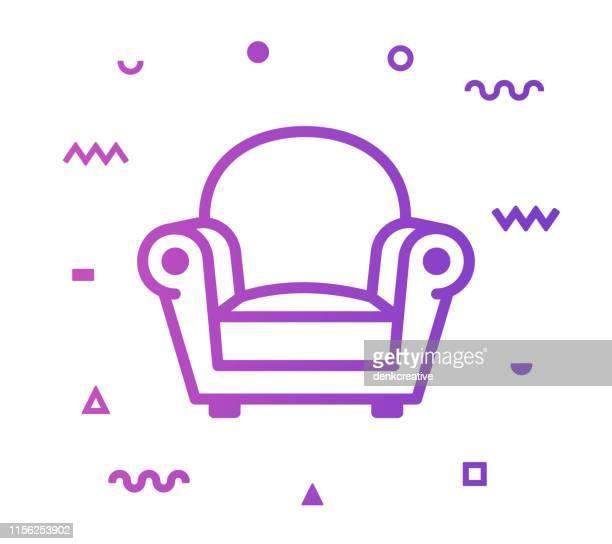 ilustraciones, imágenes clip art, dibujos animados e iconos de stock de diseño de icono de estilo de línea de sofá - ocio