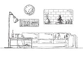 Sofa, shelves in the wall, table and floor lamp.  Hand drawn vector illustration of a sketch style.