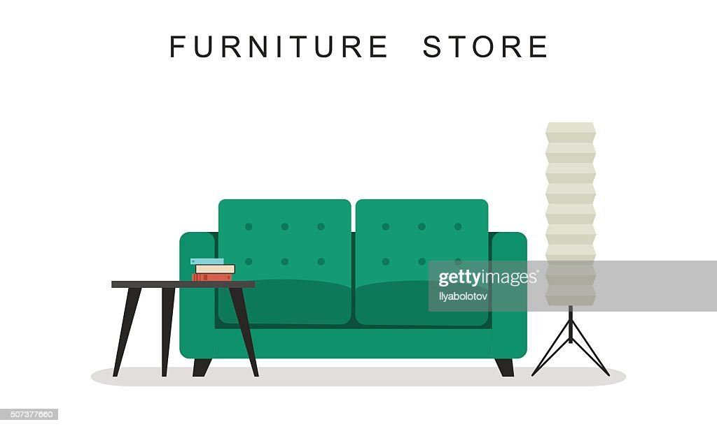 Sofa with table and lamp.
