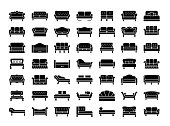 Sofas & Couches. Living room & patio furniture. Vector icons.