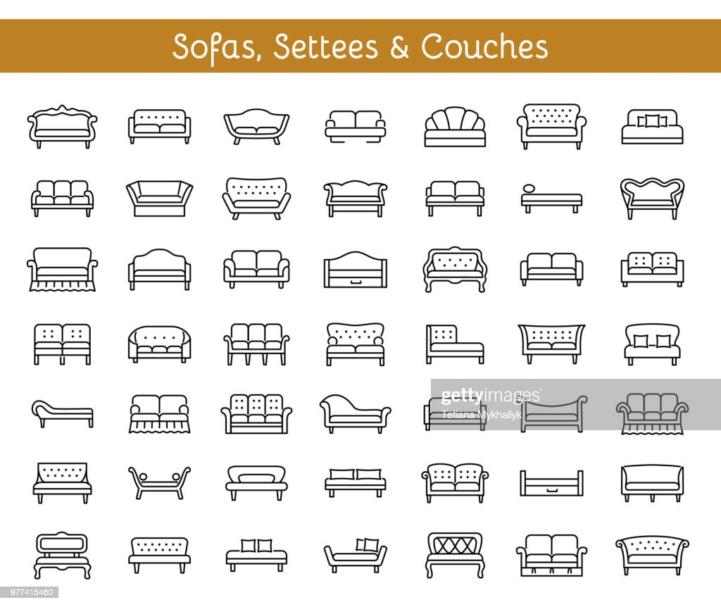 Sofas & Couches. Living room & patio furniture. Vector line icons.