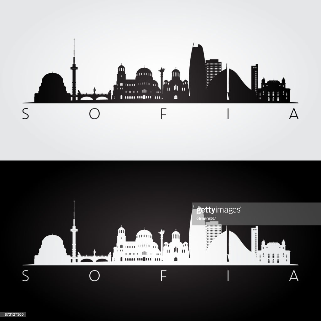 Sofia skyline and landmarks silhouette, black and white design, vector illustration.