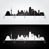 Sofia skyline and landmarks silhouette, black and white design, vector illustration.