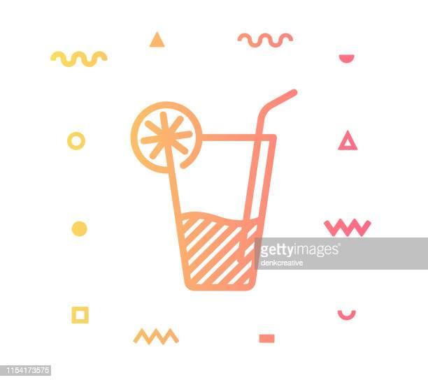 soft drink line style icon design - lemonade stock illustrations