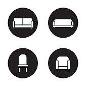 Soft furniture black icons set