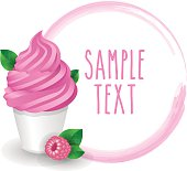 Soft ice cream cup raspberry variety vector white background