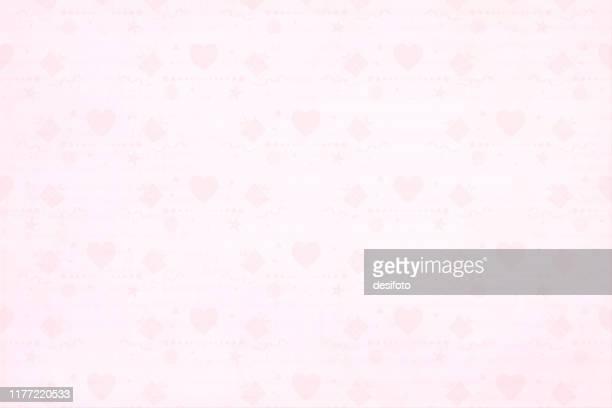 illustrazioni stock, clip art, cartoni animati e icone di tendenza di morbido motivo orizzontale di colore rosa chiaro su tutto il modello di piccoli elementi per feste, cuore, vortici, scatole regalo avvolte in minuscole scatole regalo, coriandoli su illustrazione vettoriale di sfondo sfumato. - rosa pallido