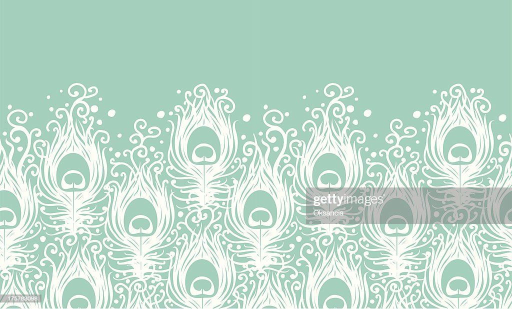 Soft peacock feathers vector horizontal seamless pattern background