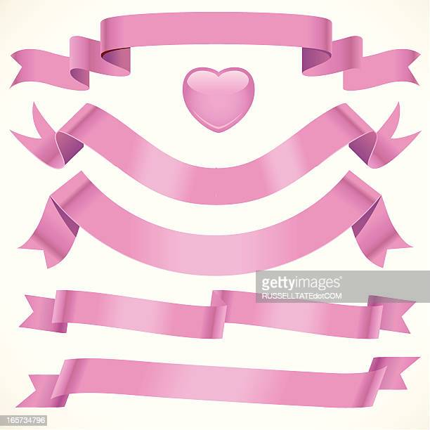 soft pink ribbon - flaccid stock illustrations, clip art, cartoons, & icons