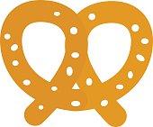 Soft pretzel isolated vector icon