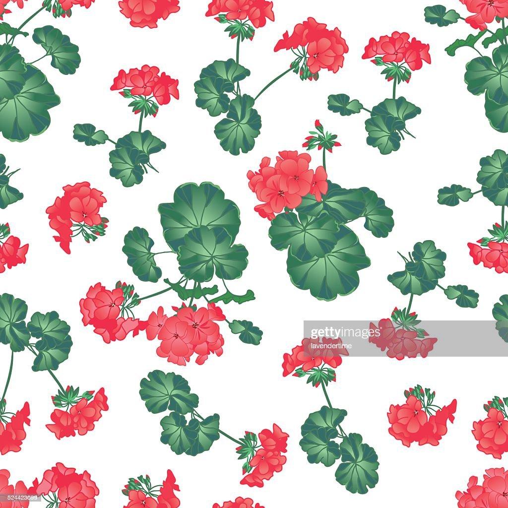 Soft red geranium seamless vector pattern