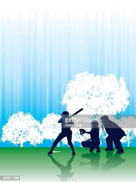 illustrations, cliparts, dessins animés et icônes de softball en arrière-plan, batteur, regarde l'arbitre de baseball - arbitre de baseball
