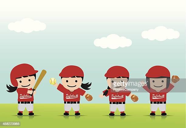 softball girls asia - baseball strip stock illustrations