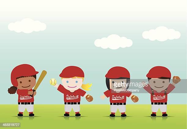 softball girls mix - softball sport stock illustrations
