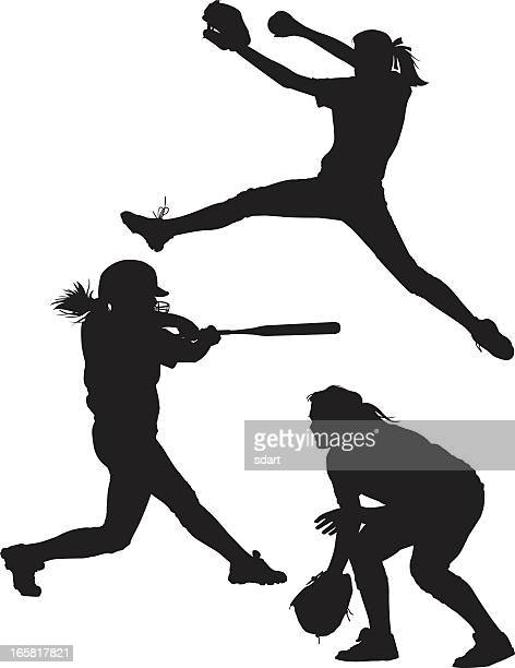 softball silhouettes - batting sports activity stock illustrations