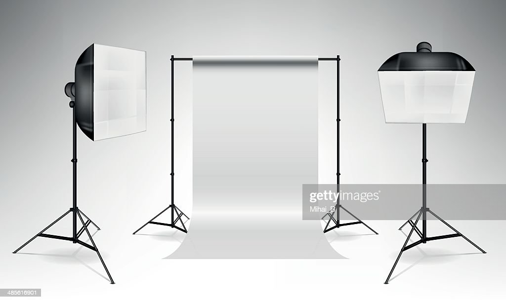 Softboxes and backdrop