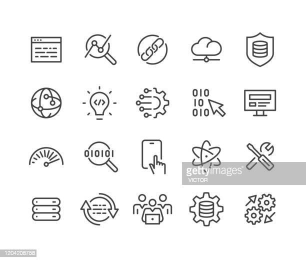 ソフトウェアとテクノロジーアイコン - クラシックラインシリーズ - 混雑した点のイラスト素材/クリップアート素材/マンガ素材/アイコン素材