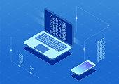 Software development and programming, program code on laptop screen.
