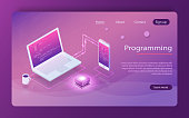 Software development and programming, program code on laptop screen, big data processing