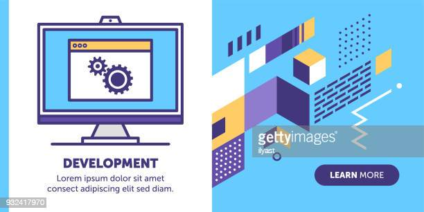 software development banner - html stock illustrations, clip art, cartoons, & icons