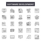 Software development line icons, signs, vector set, linear concept, outline illustration