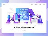 Software development modern flat design concept. Landing page template.