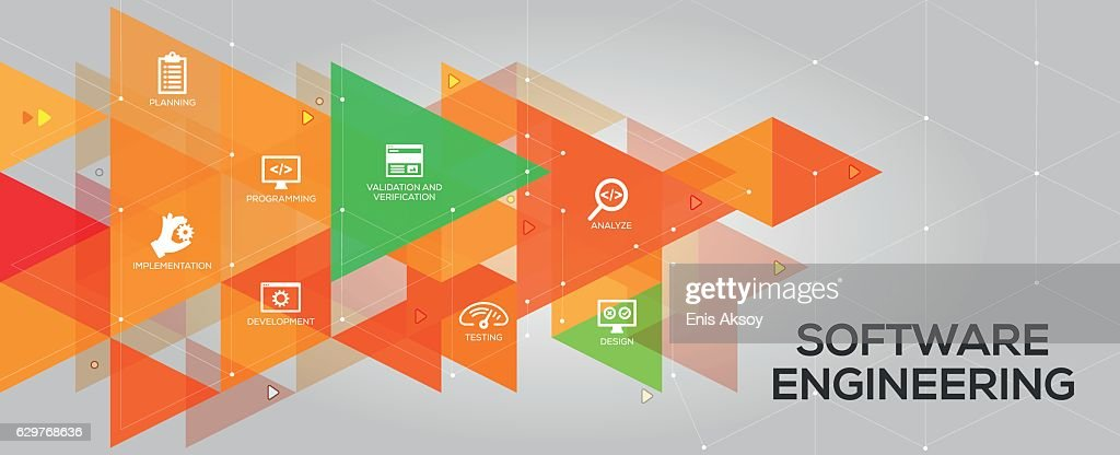 Software Engineering banner and icons : stock illustration